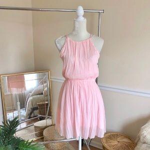 A & F Pink High Neck Chiffon Pom Skater Dress S